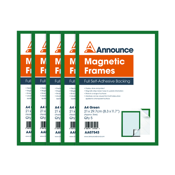 Announce Magnetic Frames A4 Green (Pack of 5)