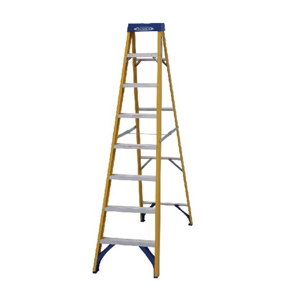 Abru Fibreglass Swingback Step Ladder 8 Tread Yellow 7160818