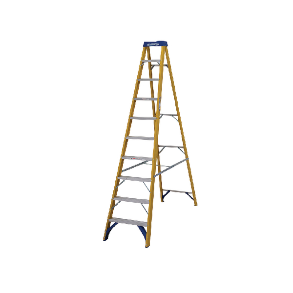 Abru Fibreglass Swingback Step Ladder 10 Tread Yellow 7161018