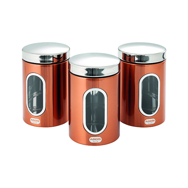 Addis Copper Finish Canisters 155 x 343 x 185mm (Pack of 3) 515717