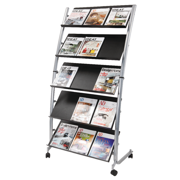 Image for Alba 5 Shelf Mobile Literature Display Stand 3 x A4 DD5GM