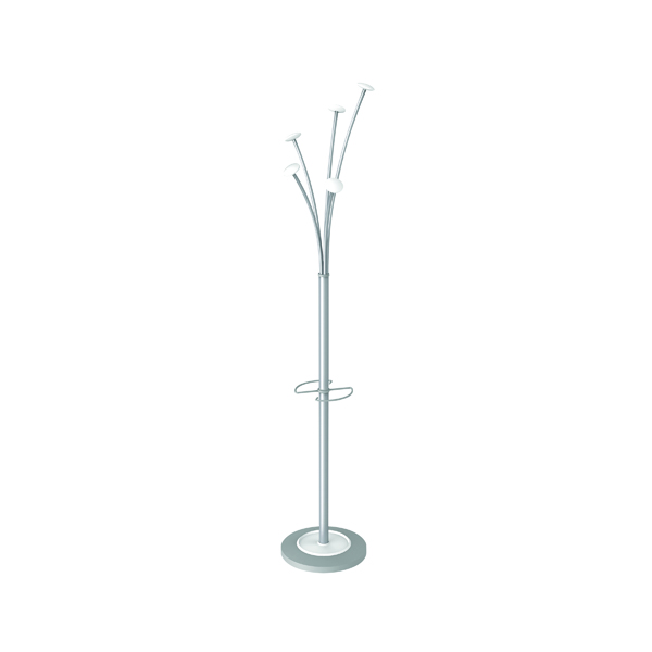 Alba Festival Coat Stand Silver/White - (High capacity coat stand with umbrella holder) PMFESTY2BC