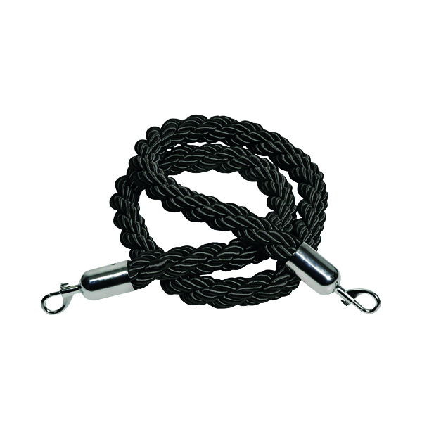 Rope 25x1500mm Black with Chrome Hooks VERRS-CLRP-CHBL