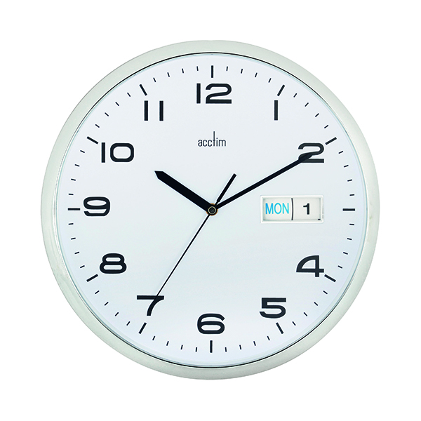 Acctim Supervisor Wall Clock 320mm Chrome/White 21027