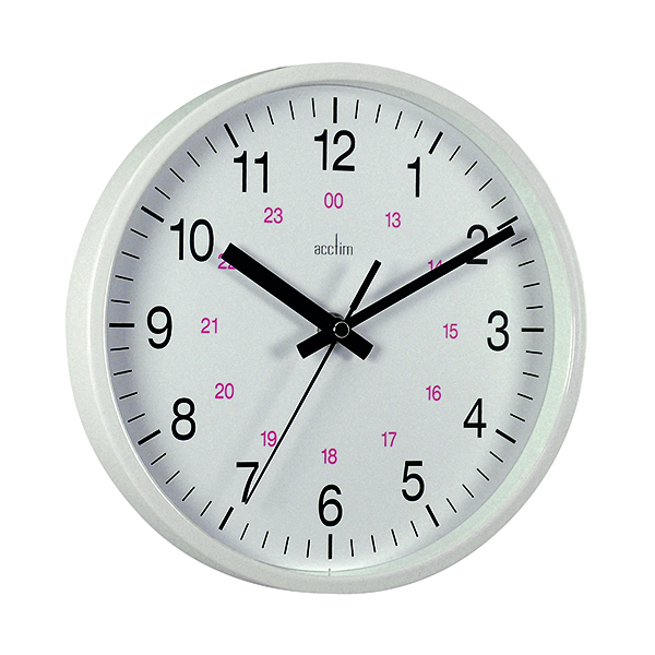 Acctim Metro 24 Hour Plastic Wall Clock 355mm White 21202