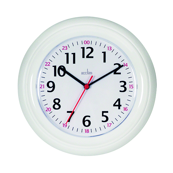 Acctim Wexham 24 Hour Plastic Wall Clock White 21862