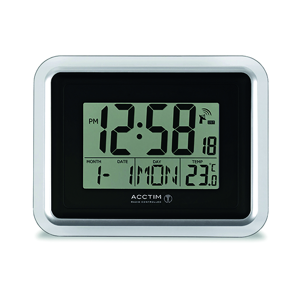 Acctim Delta Radio Controlled Digital Clock Silver/White 74573
