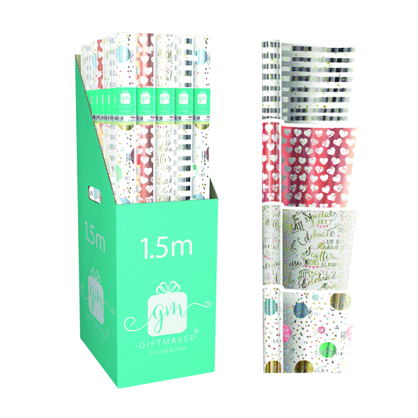 Giftmaker Celebration Mix Gift Wrap (Pack of 36) Y8GM123K