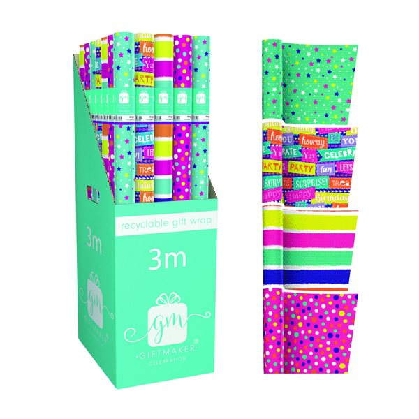 Giftmaker Teen Mix Gift Wrap (Pack of 36) Y8GM123G