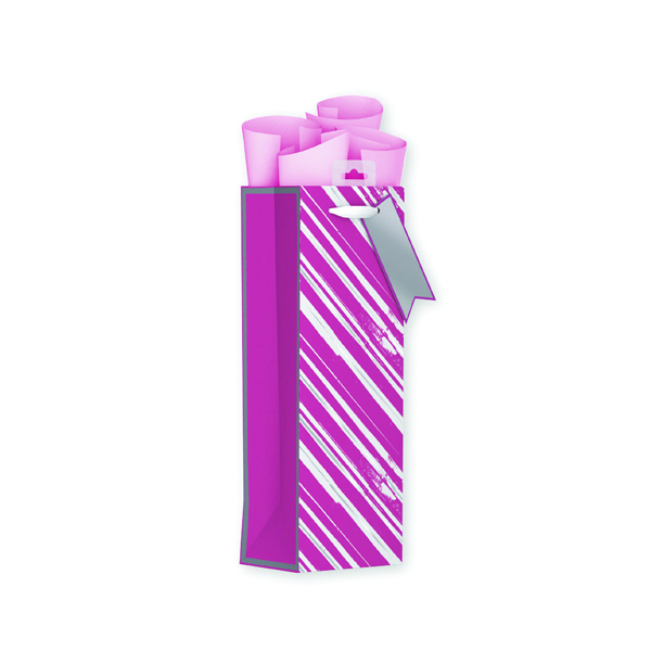 Giftmaker Vertical Stripe Bottle Bag Pink (Pack of 6) FCSB