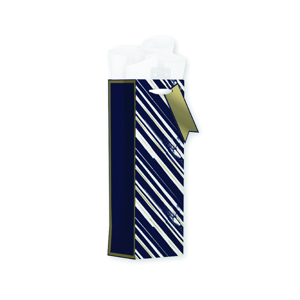 Giftmaker Vertical Stripe Bottle Bag Blue (Pack of 6) MGSB