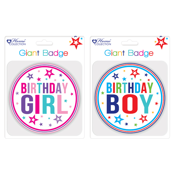Image for Giftmaker Giant Girl and Boy Birthday Badge (Pack of 12) GBAD