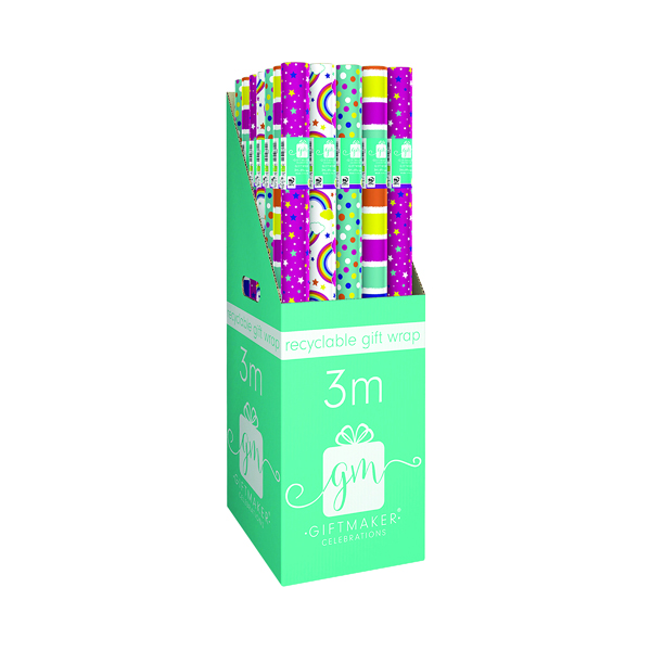 Giftmaker 3M Recyclable Gift Wrap Brights (Pack of 36) YALGW20F