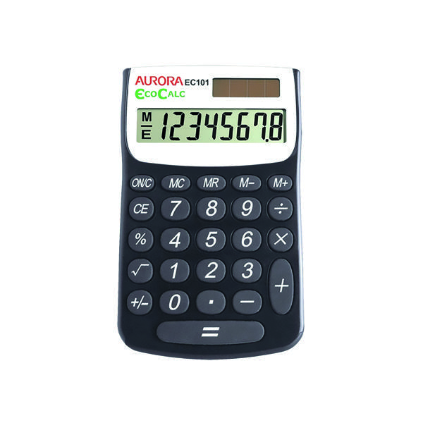 Image for Aurora Black /White 8-Digit Handheld Calculator EC101