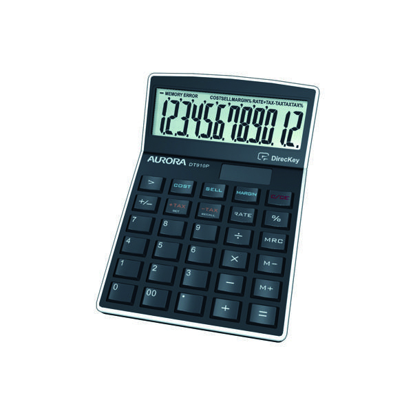 Image for Aurora Black 12-Digit Semi-Desk Calculator (Enables profit and sales calculations) DT910P