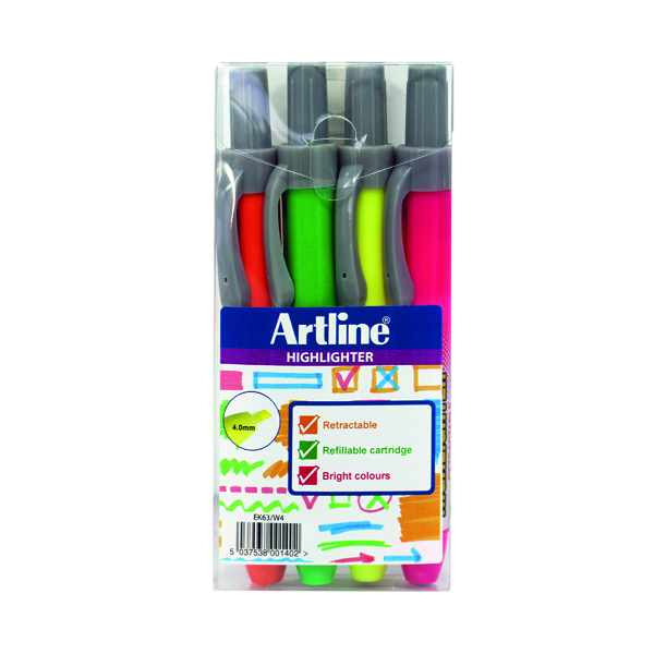 Artline Clix Retractable Highlighter Assorted (Pack of 4) EK63W4