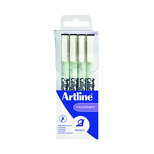 Artline Calligraphy Pen Set Assorted Width Black (Pack of 4) EK-240W4