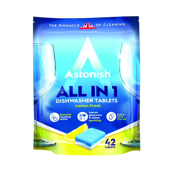 Astonish All in 1 Dishwasher Tablets Blue (Pack of 42)