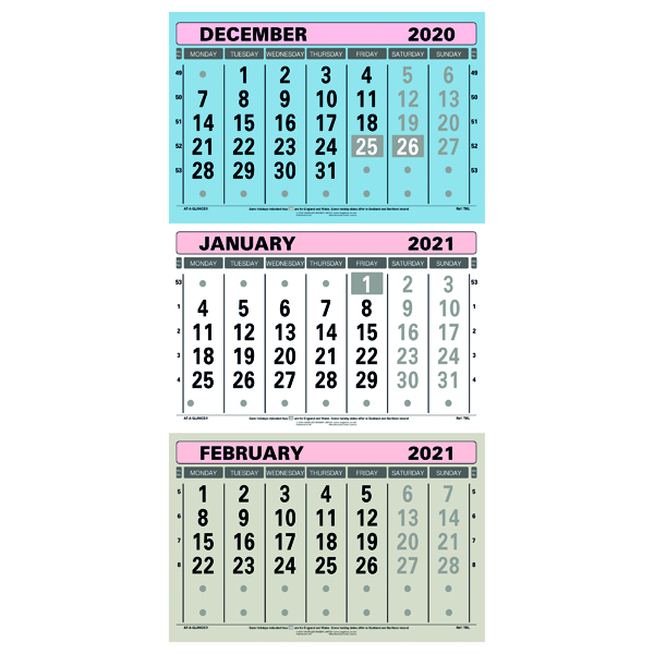 At-A-Glance Large Wall Calendar 3 Month View 2021 TML21