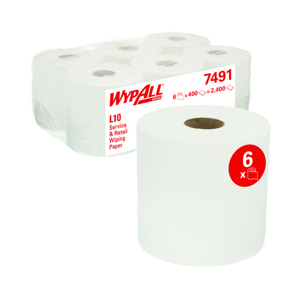 Wypall L10 Roll Control Wiper White 400 Sheets (Pack of 6) 7491