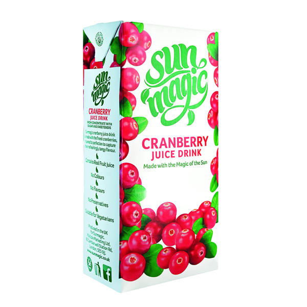 Sunmagic Premium Cranberry Juice Drink 1 Litre (Pack of 12) A08111
