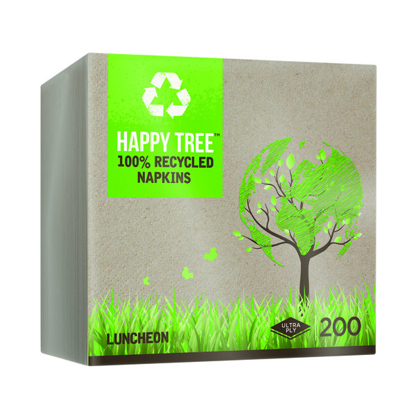 Luncheon Ultra Ply Happy Tree 8-Fold Napkins (Pack of 200) 3318RCHT
