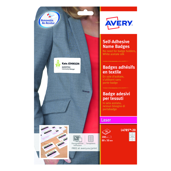 Avery Self Adhesive Name Badge 10 Per Sheet Wht (Pack of 200) L4785-20