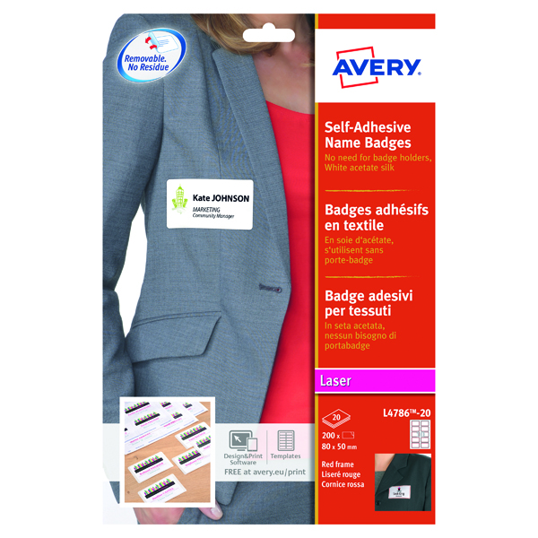 Avery Self-Adh Name Badge 10 Per Sheet Wht/Red (Pack of 200) L4786-20