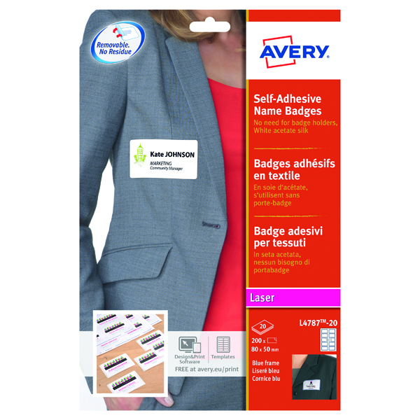 Avery Self-Adh Name Badge 10 Per Sheet Wht/Blu (Pack of 200) L4787-20