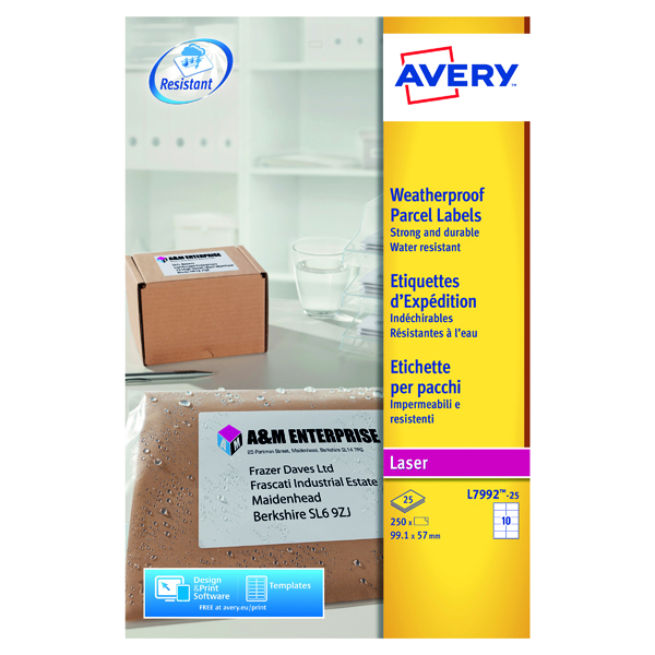 Avery Weatherproof Shipping Label 10 Per Sheet (Pack of 250) L7992-25