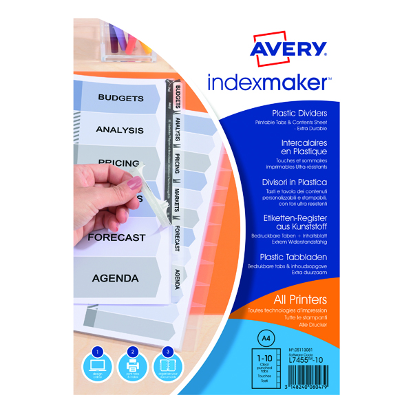 Avery Index Maker Polypropylene 10-Part Clear 05113081