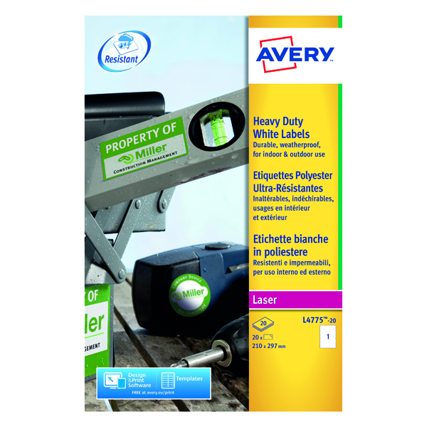 Image for Avery Laser Label Heavy Duty 1 Per Sheet White (Pack of 20) L4775-20