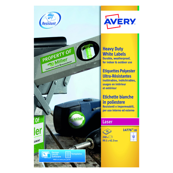 Avery Laser Label 63.5x72mm Heavy Duty White (Pack of 240) L4776-20