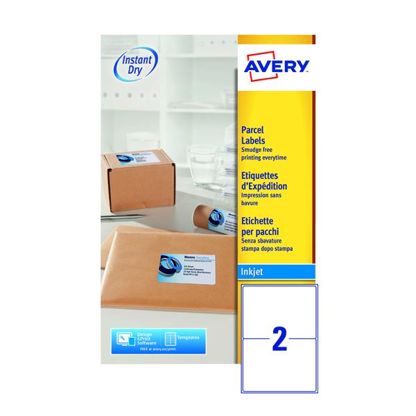 Avery Inkjet Parcel Labels 2 Per Sheet White (Pack of 50) J8168-25