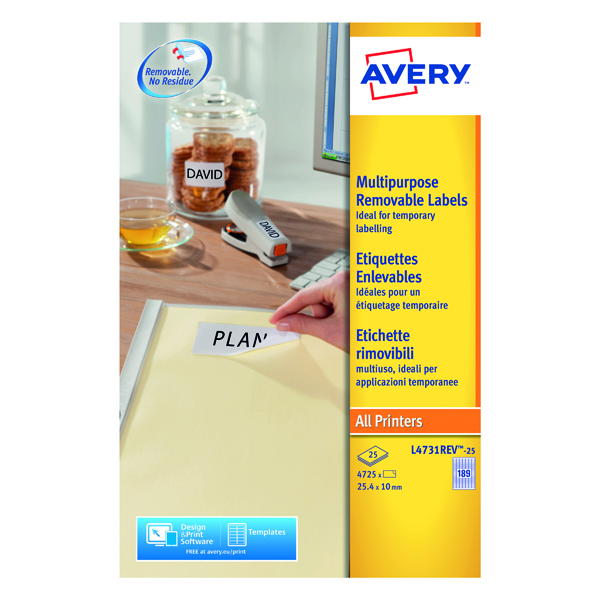 Avery Laser Mini Labels 189 per sheet White (Pack of 4725) L4731REV-25