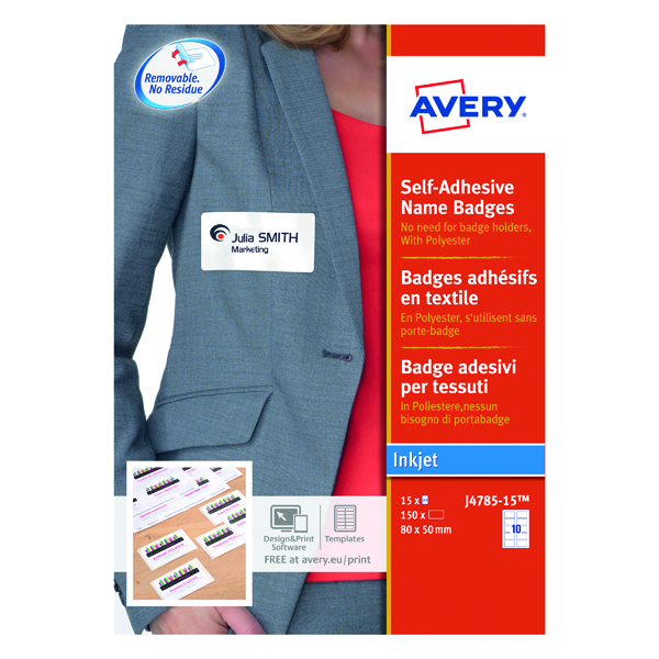 Avery Self-Adhesive Name Badges 80x50mm (Pack of 150) J4785-15