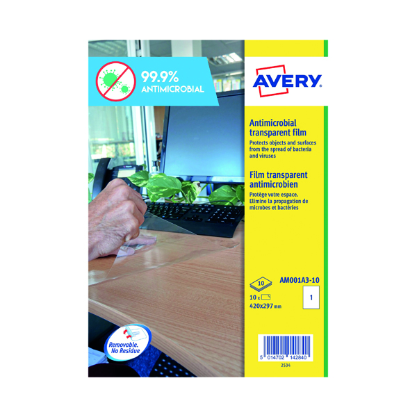 Avery A3 Antimicrobial Film Labels (Pack of 10) AM001A3