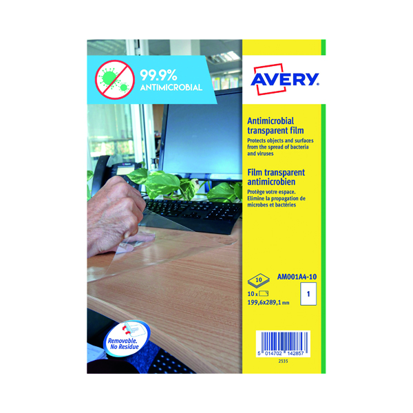 Avery Removable A4 Antimicrobial Film Labels (Pack of 10) AM001A4 (PPE / Covid-19)