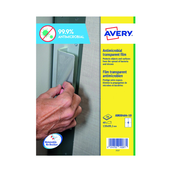 Avery Removable A4 Antimicrobial Film Labels (Pack of 40) AM004A4 (PPE / Covid-19)