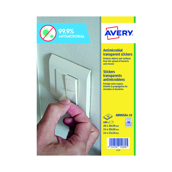 Avery Permanent Assorted Square Antimicrobial Film Labels (Pack of 680) AM00SA4 (PPE / Covid-19)