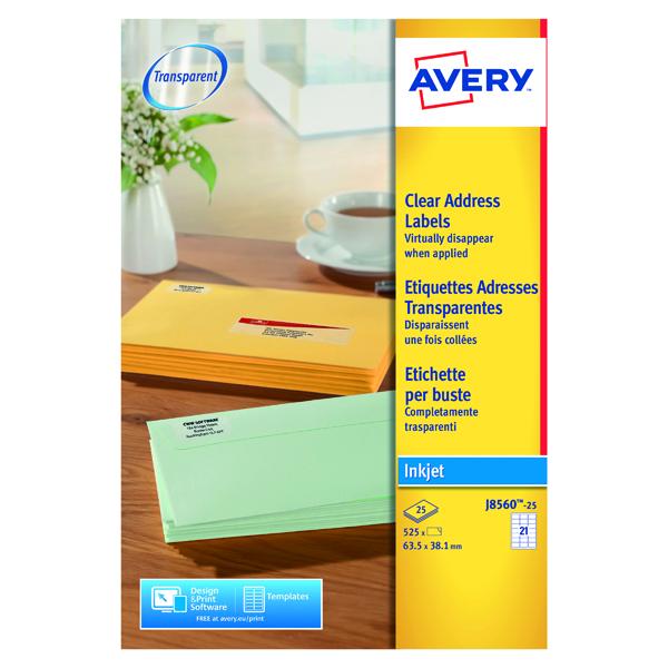 Avery Inkjet Address Labels 21 Per Sheet Clear (Pack of 525) J8560-25