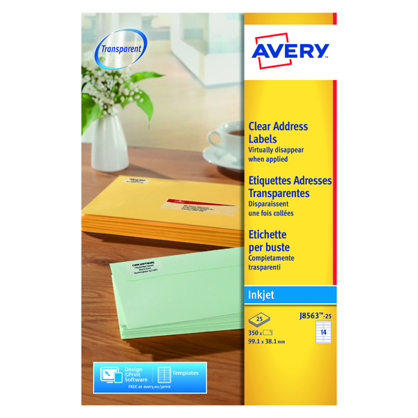 Avery Inkjet Address Labels 14 Per Sheet Clear (Pack of 350) J8563-25