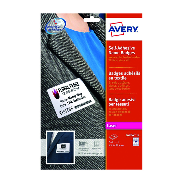 Avery Self- Adhes Name Badge 27 Per Sheet White (Pack of 540) L4784-20