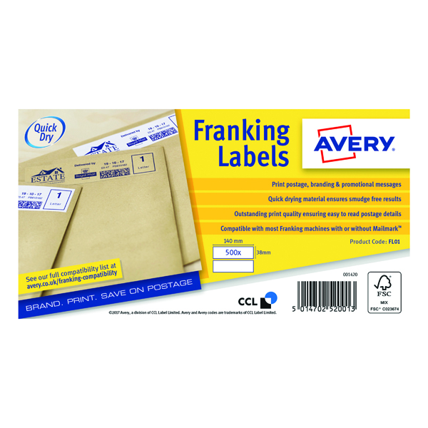 Avery Franking Label 140 x 38mm 2 Per Sheet White (Pack of 1000) FL01