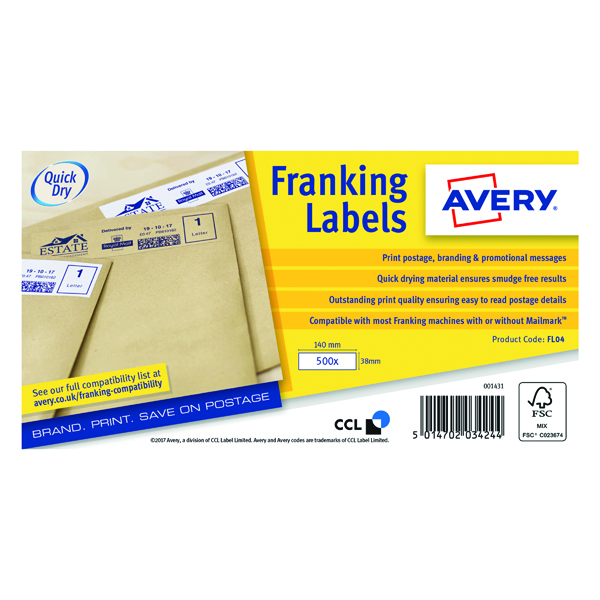Image for Avery Franking Label 140 x 38mm 1 Per Sheet White (Pack of 1000) FL04