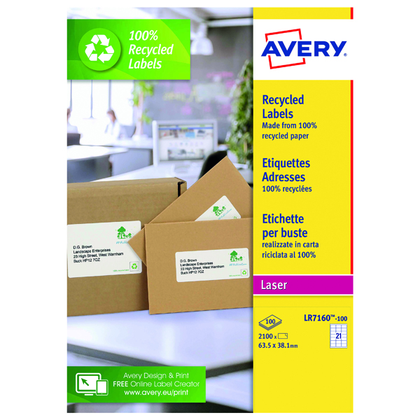Avery Laser Label Recycled 21 Per Sheet Wht (Pack of 2100) LR7160-100