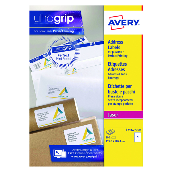 Avery Ultragrip Laser Labels 199.6x289.1mm Wht (Pack of 500) L7167-500