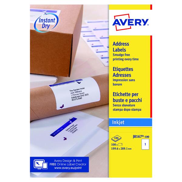 Avery Inkj Label 199.6x289.1mm 1 Per Sheet Wht (Pack of 100) J8167-100