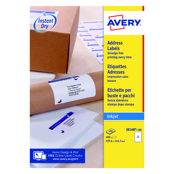 Avery Inkj Label 199.6x143.5mm 2 Per Sheet Wht (Pack of 200) J8168-100