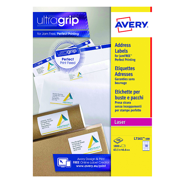Avery Ultragrip Laser Label 63.5x46.6mm White (Pack of 1800) L7161-100